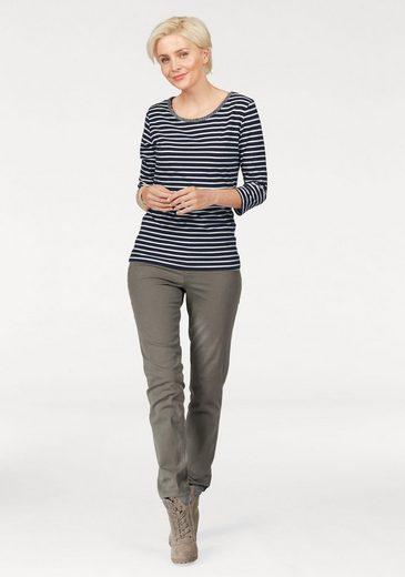 STOOKER WOMEN Rundhalsshirt, mit Streifen und Schmucksteinen am Ausschnitt