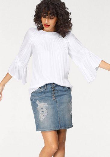 Please Jeans Carmenbluse, mit trendigen Volants