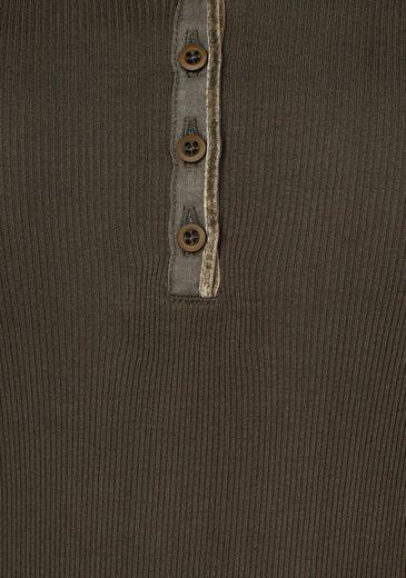 AJC Langarmshirt, im Henley Schnitt in gerippter Qualität