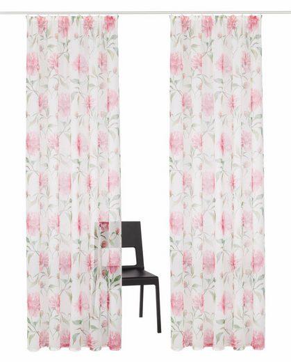 Gardine »Floro«, Home affaire, Kräuselband (2 Stück), Vorhang, Fertiggardine, transparent