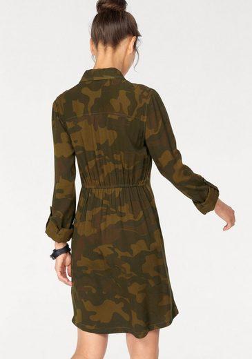AJC Hemdblusenkleid, im tarnfarbenem Allover-Print