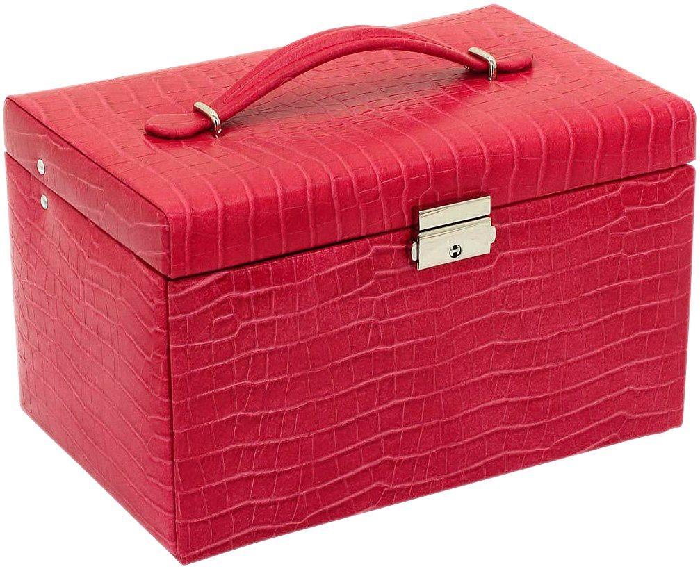 Schmuckkasten mit echtem Leder überzogen | Schmuck > Schmuckaufbewahrungen > Schmuckkästen | Rot | Lady