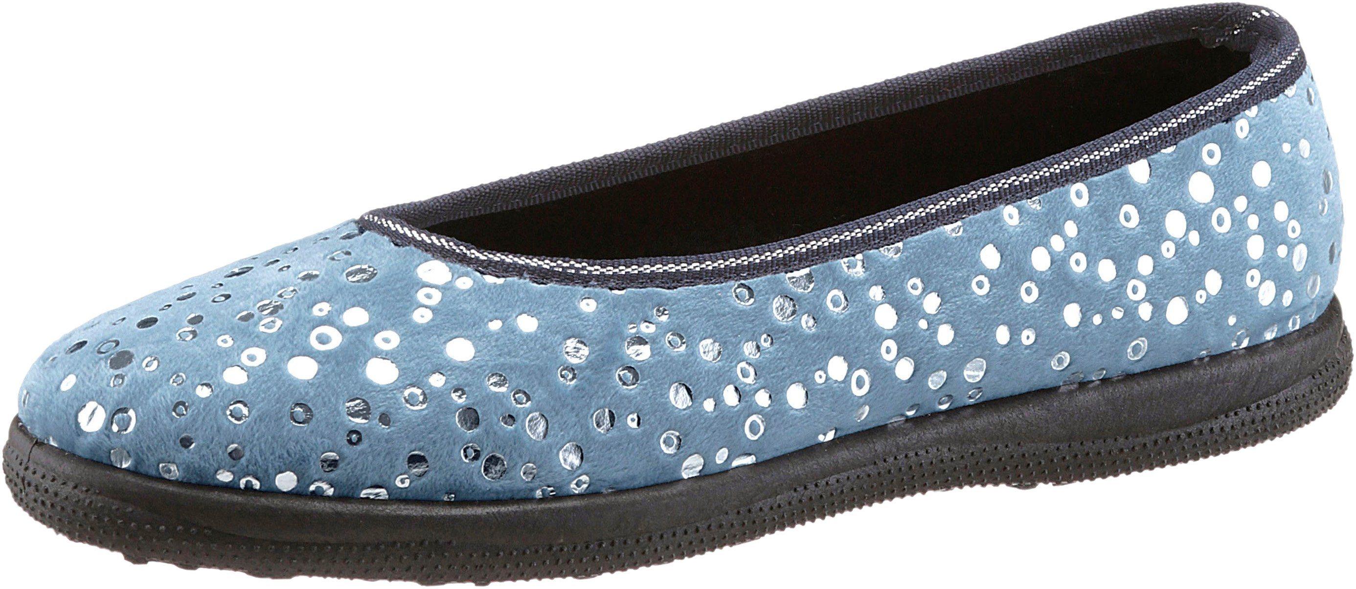 Hausschuh mit rutschhemmender Synthetik-Laufsohle  blau