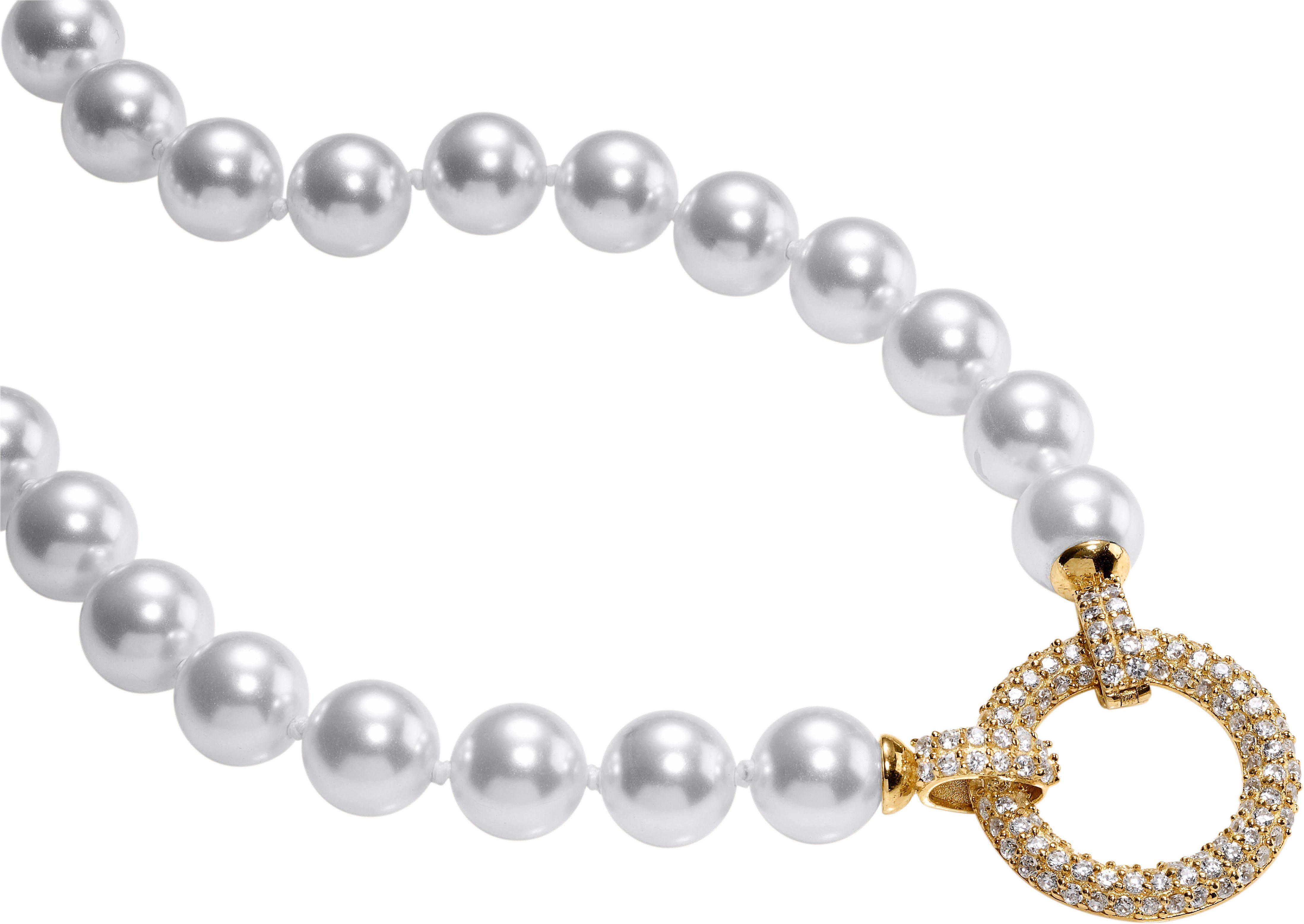 Collier mit Kristallsteinen und Muschel-Perlen