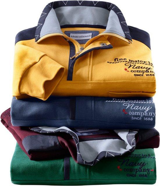 marco donati -  Langarm-Shirt aus reiner Baumwolle
