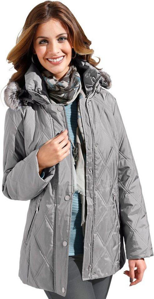 Damen Collection L. Jacke in attraktiver Rautensteppung grau | 04038968531959