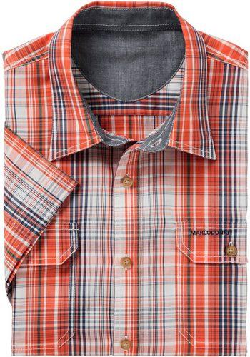 Herren Marco Donati Kurzarm-Hemd aus reiner Baumwolle orange | 08901158146065