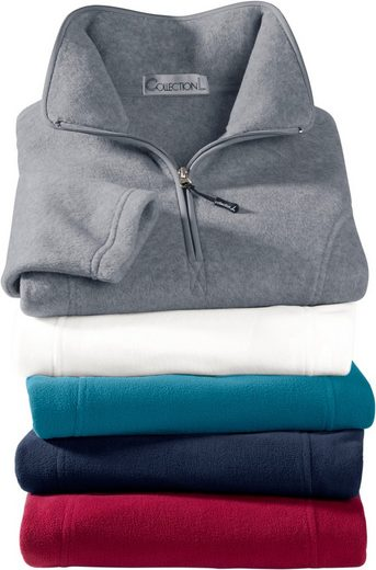 Collection L. Fleece-Shirt mit Troyerkragen
