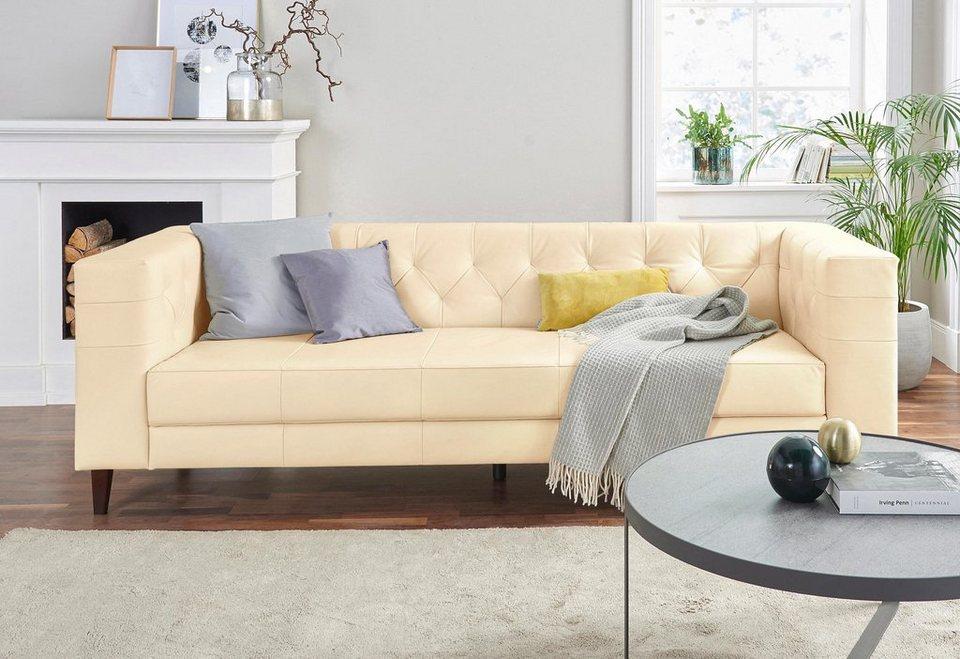 Alte Gerberei 3-Sitzer Sofa »Evelin« mit Knopfheftung online kaufen ...