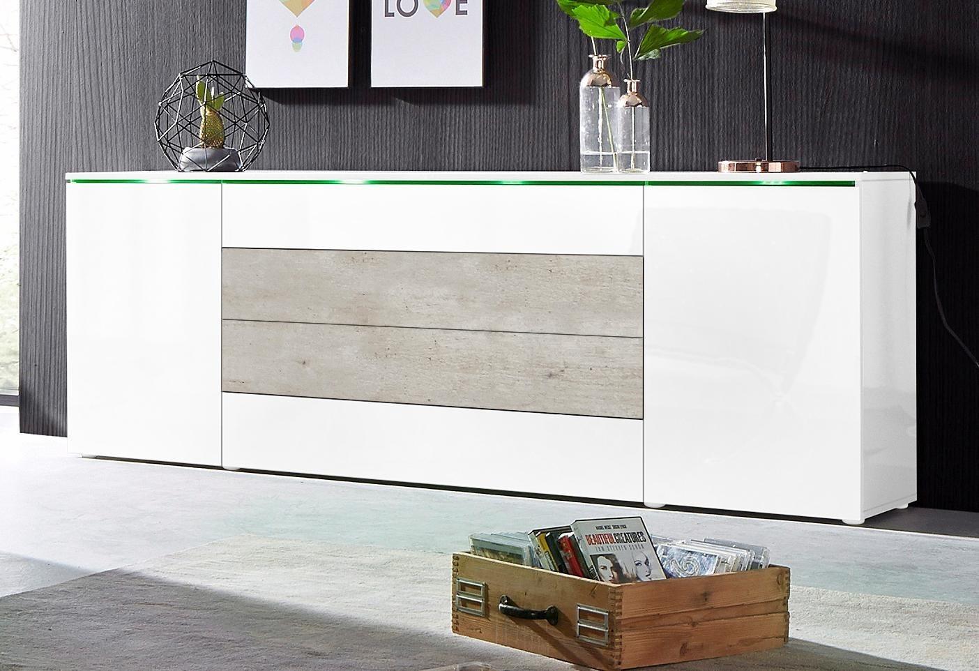 Bemerkenswert Sideboard Weiß Hochglanz 200 Cm Das Beste Von Borchardt Möbel Xxl-sideboard, Breite