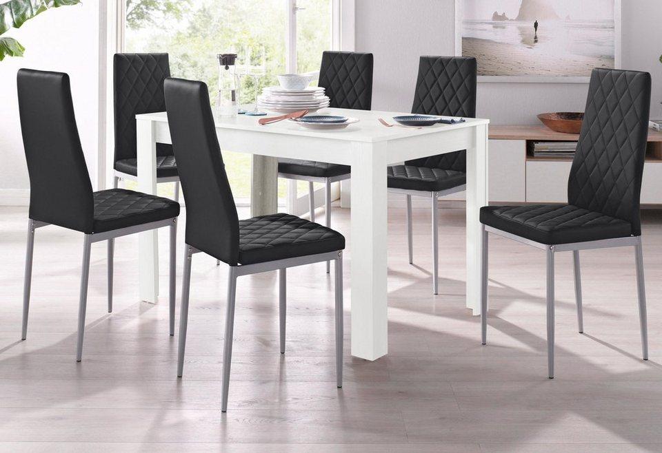 essgruppe mit tisch in wei breite 120 cm 5 tlg online kaufen otto. Black Bedroom Furniture Sets. Home Design Ideas