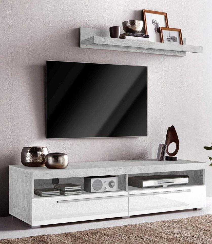 lowboard mit wandregal breite 140 cm kaufen otto. Black Bedroom Furniture Sets. Home Design Ideas