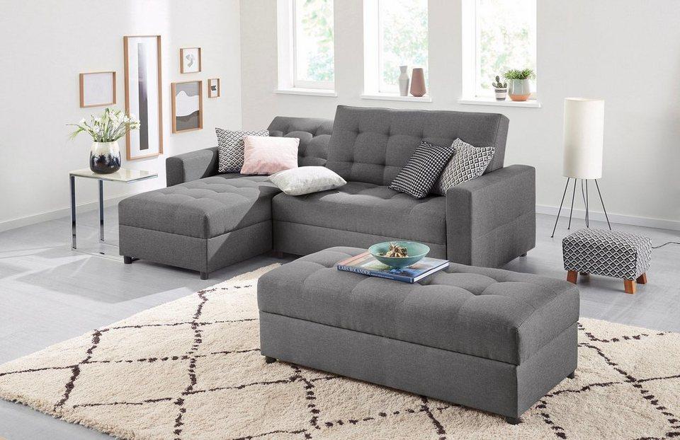 max winzer schlafsofa mit recamiere miko mit r ckenverstellung inklusive stauraumhocker. Black Bedroom Furniture Sets. Home Design Ideas