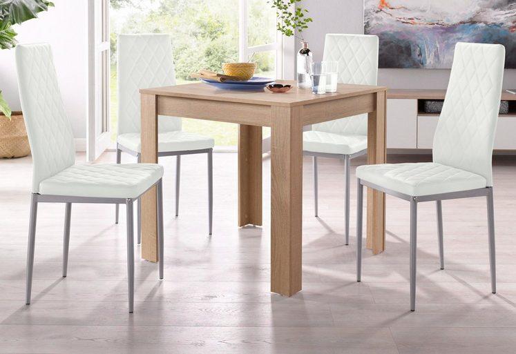Essgruppe, (Set, 5 tlg), mit Tisch in Eichefarben Sägerau, Breite 80 cm