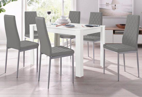Essgruppe, (Set, 5-tlg), mit Tisch in Weiß, Breite 120 cm