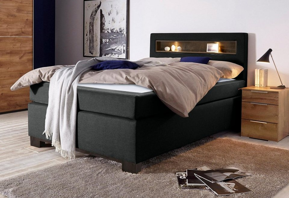 bruno banani boxspringbett mit holzeinsatz und led leuchten im kopfteil online kaufen otto. Black Bedroom Furniture Sets. Home Design Ideas