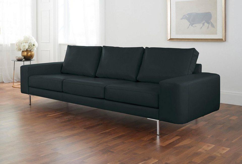 Ledersofa schwarz kissen  Alte Gerberei 3-Sitzer Sofa »Lexgaard« mit großer Bodenfreiheit ...