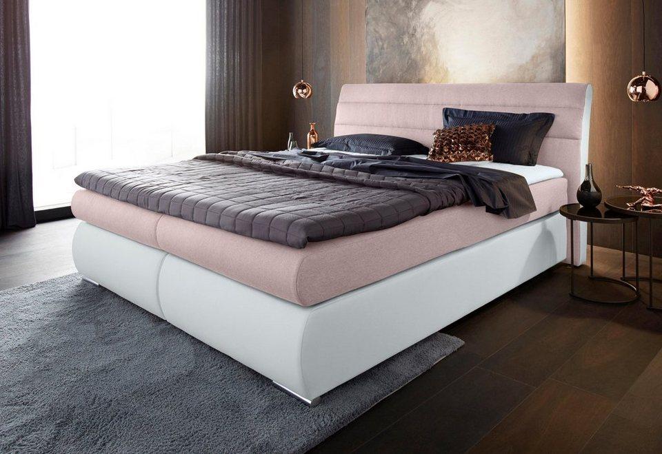 places of style boxspringbett in strukturstoff kunstleder mix berl nge 220 cm online kaufen otto. Black Bedroom Furniture Sets. Home Design Ideas