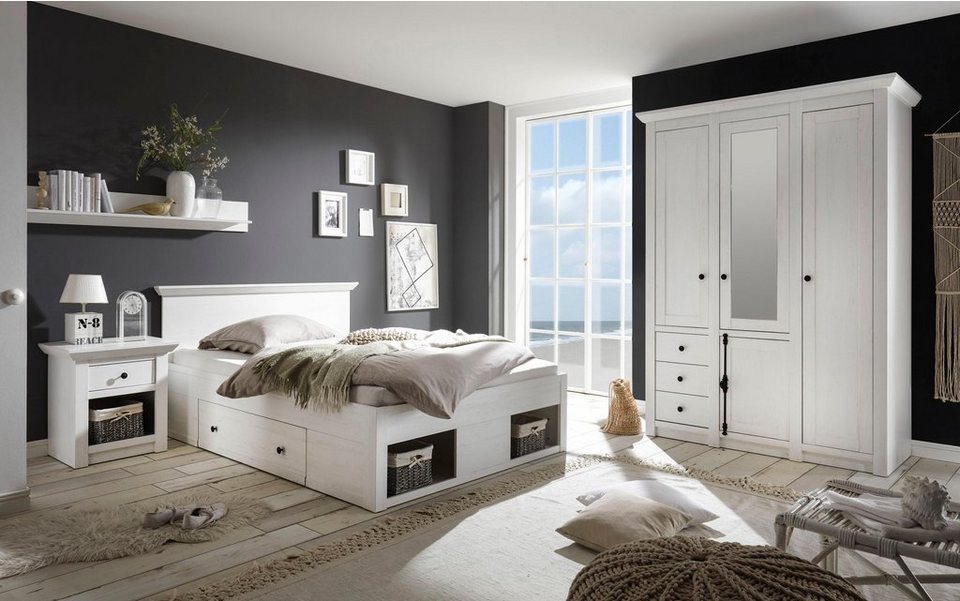 home affaire schlafzimmer set california klein bett 140 cm 1 nachttisch und 3 trg. Black Bedroom Furniture Sets. Home Design Ideas