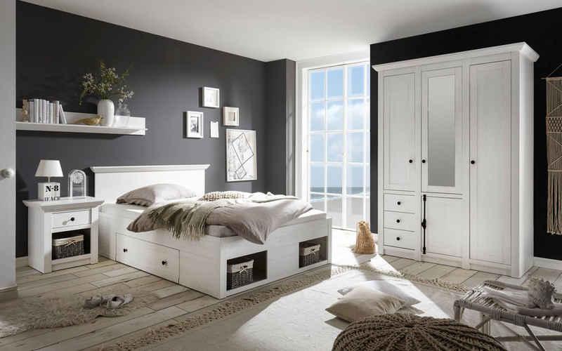 Home affaire Schlafzimmer-Set »California«, (Set, 3-St), klein, Bett 140 cm, 1 Nachttisch und 3-trg Kleiderschrank