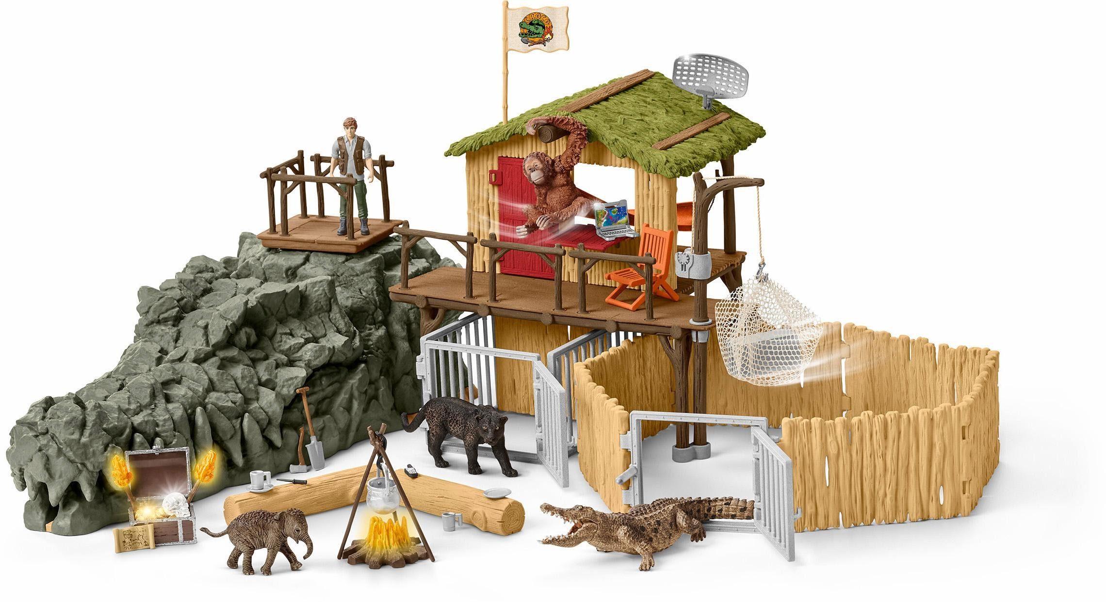 Schleich® Spielset (42350), »Wild Life, Dschungel Forschungsstation Croco«
