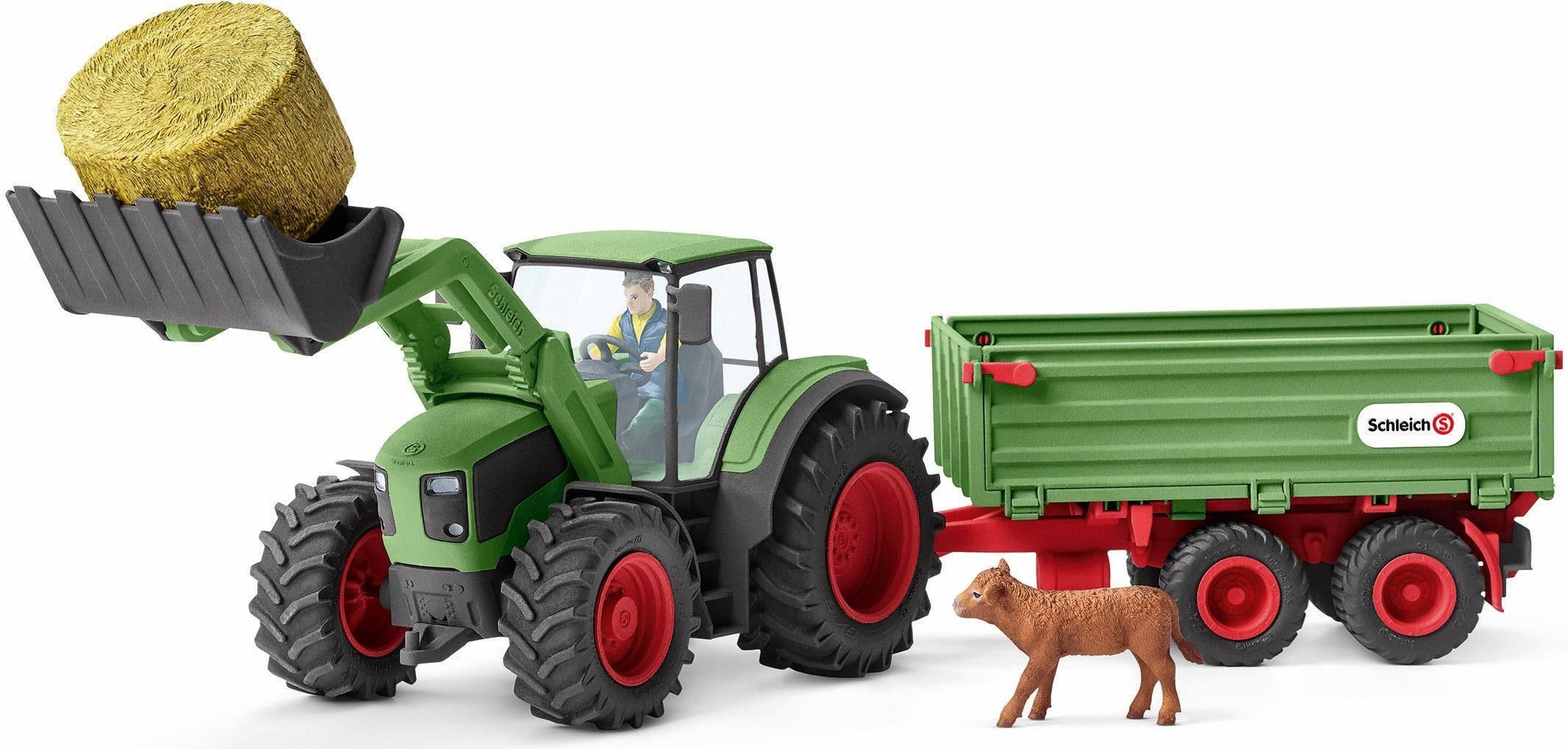 Fahrzeuge Traktor Trecker Holz mit Anhänger und Zubehör Bauernhof Farm