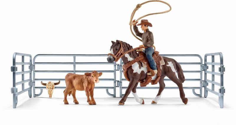 Schleich® Spielfigur »Farm World, Team Roping mit Cowboy (41418)«