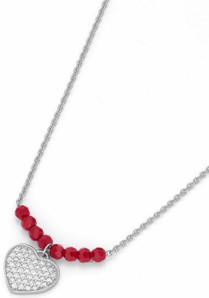 Firetti Kette mit Anhänger »Herz« mit Zirkonia und Kristallperlen | Schmuck > Halsketten > Herzketten | Rot | Firetti
