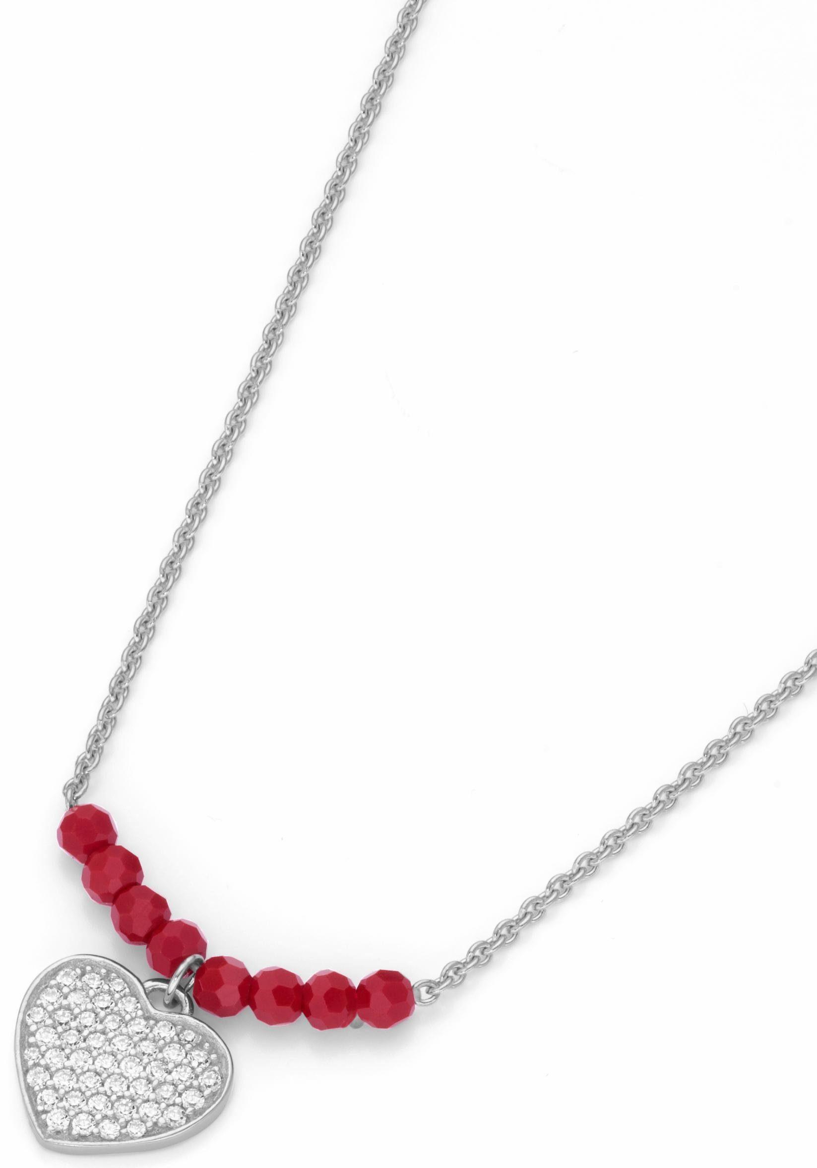 Firetti Kette mit Anhänger »Herz« mit Zirkonia und Kristallperlen