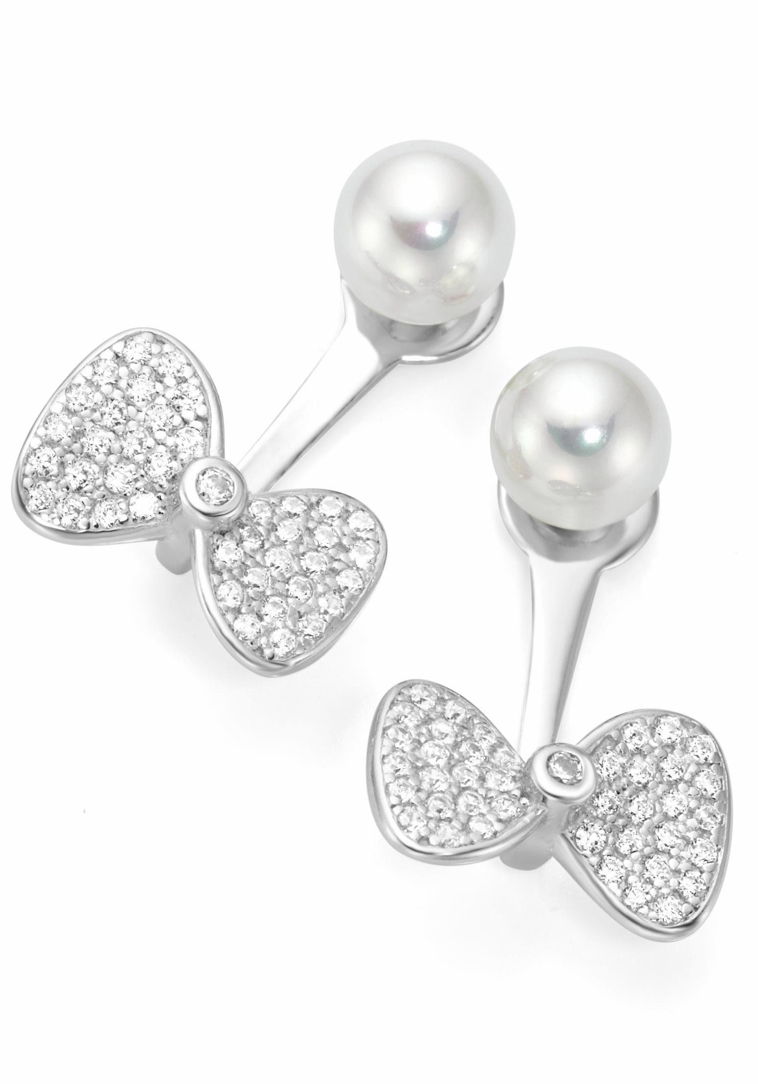 Firetti Perlenohrringe »Ear Jackets, Schleife« mit abnehmbaren Einhänger, Zirkonia und Muschelperlen