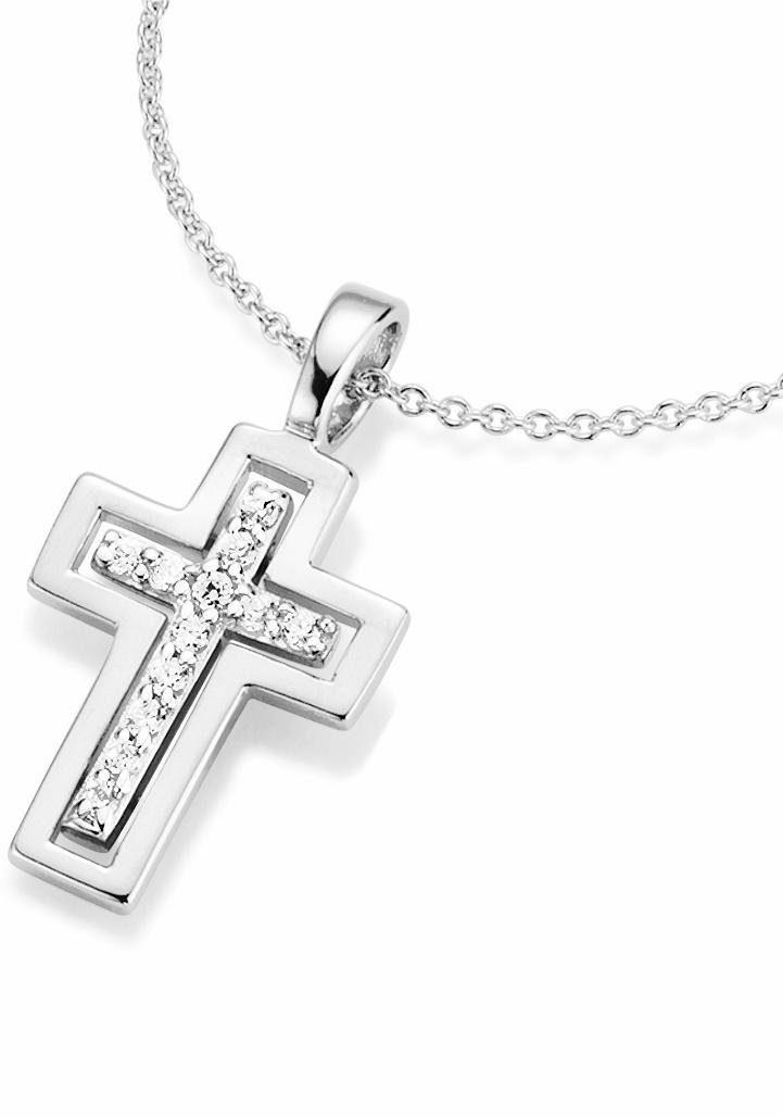 Firetti Kette mit Anhänger »Kreuz« mit Zirkonia