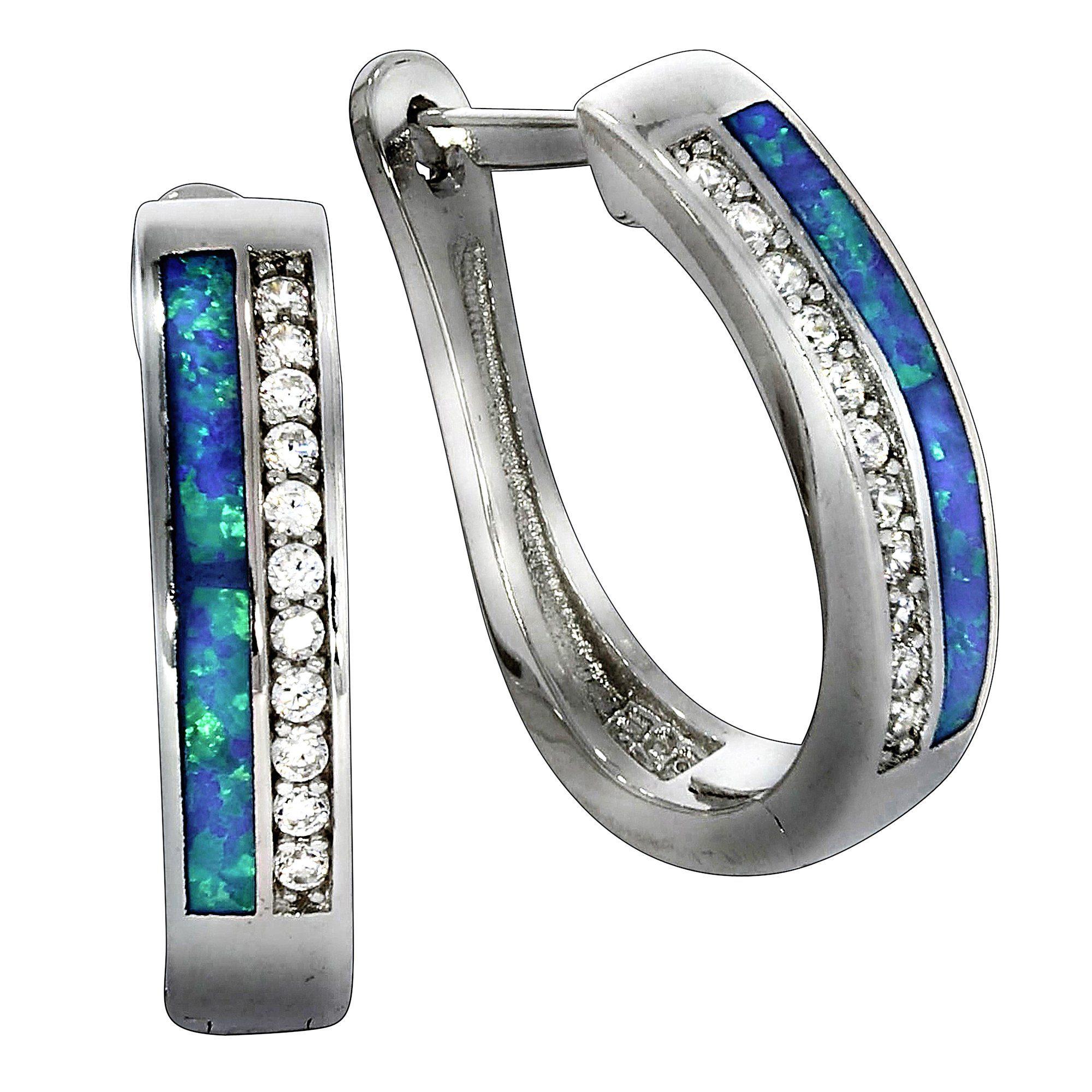 Firetti Creolen »925/- Sterling Silber Opal Zirkonia«