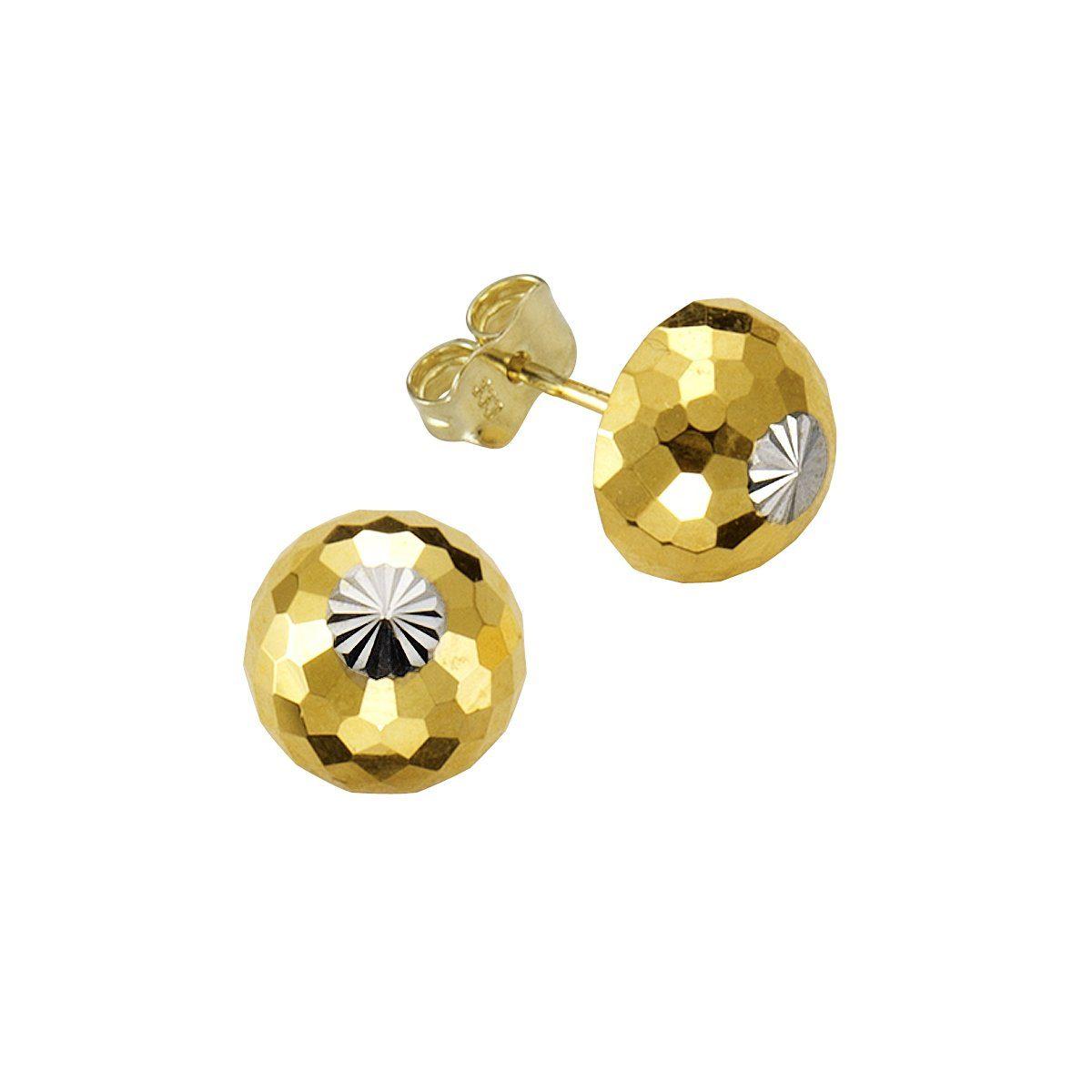 Firetti Ohrstecker »333/- Gelbgold Halbkugel bicolor diamantiert«