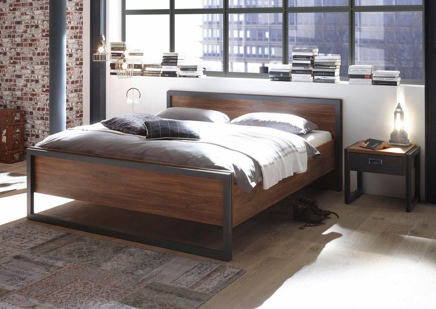 Home affaire Bett Detroit  in 3 Breiten in angesagtem Industrial Look braun   04054574058147