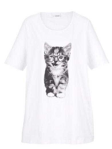 MIAMODA Shirt mit Katzendruck-Motiv