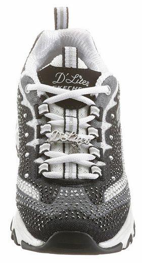Skechers D'Lites Diamonds Are Forever Schnürschuh, mit schönen Glitzersteinchen