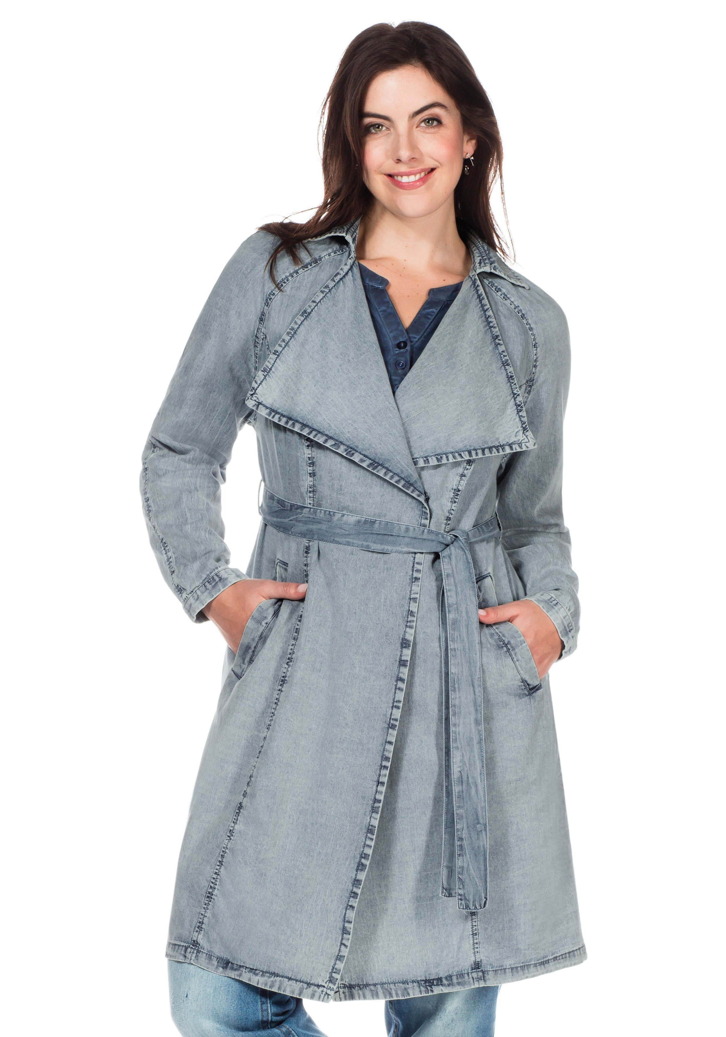 sheego Denim Trenchcoat Individuelle Waschung | Bekleidung > Mäntel > Trenchcoats | sheego Denim