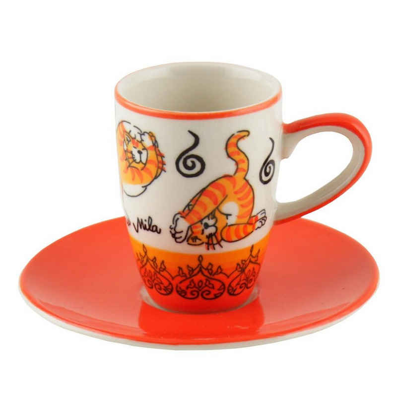 Mila Espressotasse »Mila Keramik Espresso-Tasse mit Untere Oommh Yoga«, Keramik