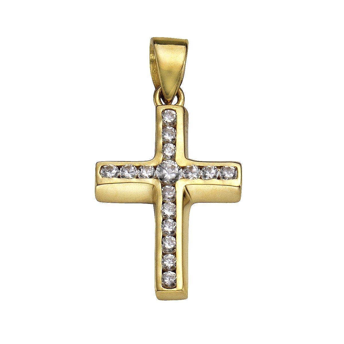 Firetti Anhänger »585/- Gelbgold Kreuz 16x Zirkonia«