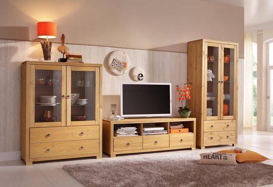 Home affaire Wohnwand »Gotland«, (Set, 3-tlg), bestehend aus 1 Highboard, 1 TV-Lowboard und 1 Vitrine
