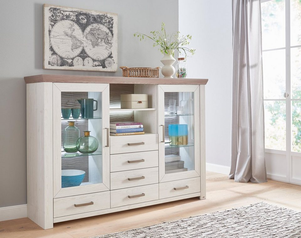 set one by musterring highboard york typ 56 pino. Black Bedroom Furniture Sets. Home Design Ideas
