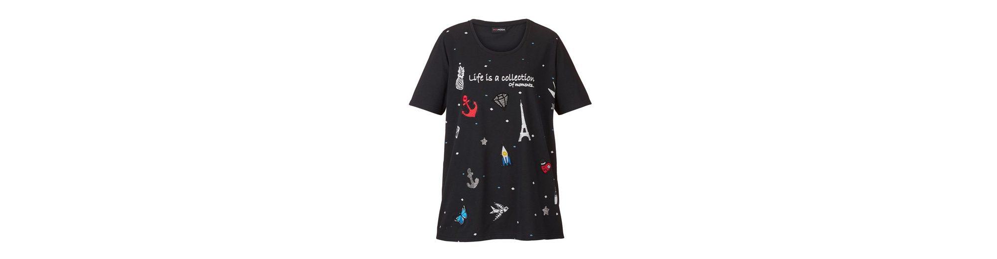 MIAMODA Shirt mit Aufn盲hern und Motiven aus Dekosteinen