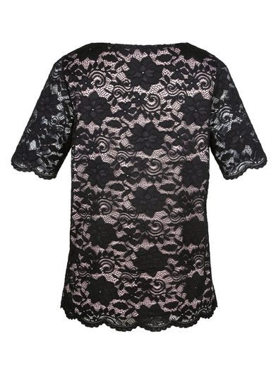 Miamoda Lace Shirt Contrast Color Lined