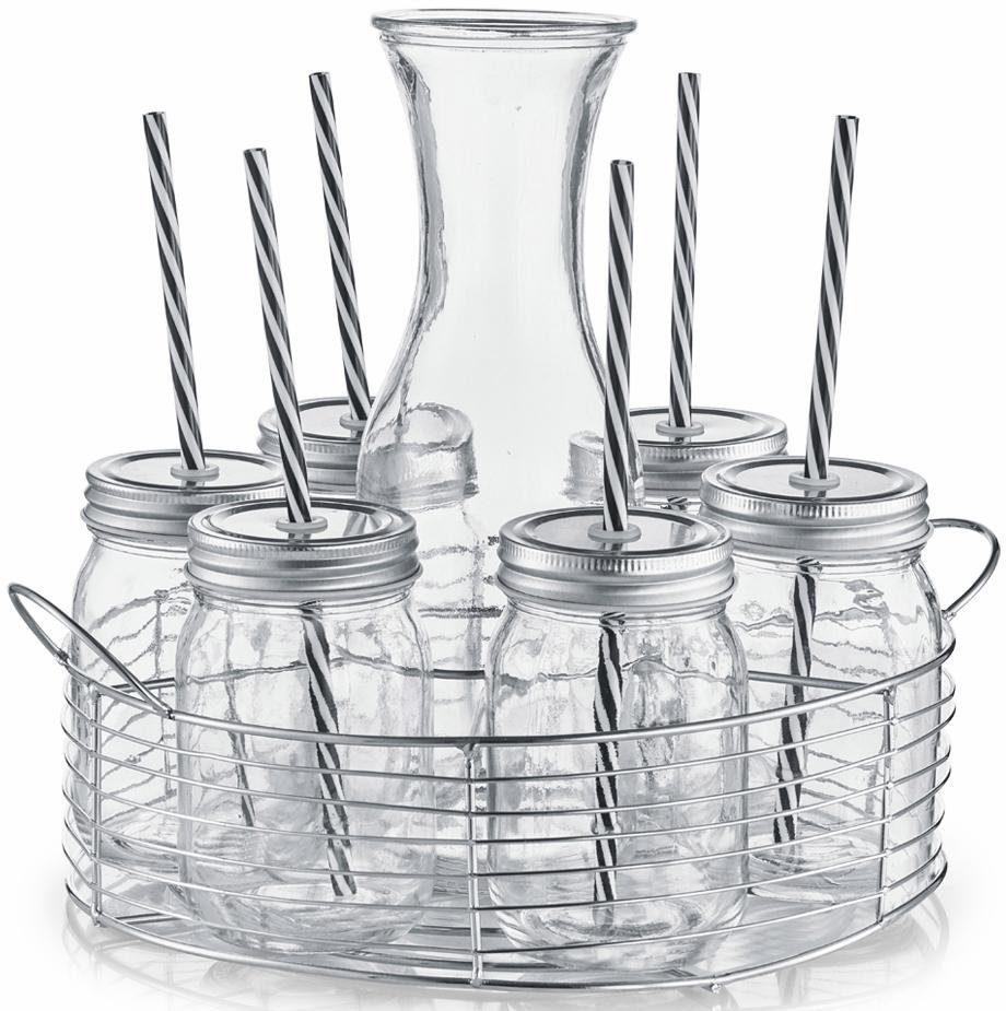 Zeller Present Glaskaraffe-/Gläser-Set, Glas/Metall, 8 Teile