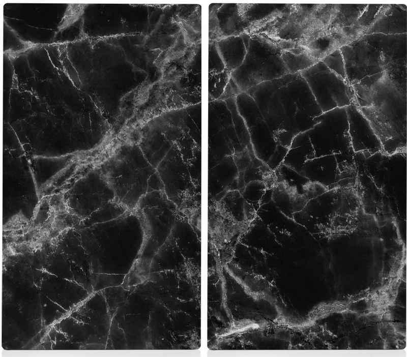 Zeller Present Schneide- und Abdeckplatte »Marmor«, ESG-Sicherheitsglas, (Set, 2 tlg), Hitzebeständig bis 220/240°C