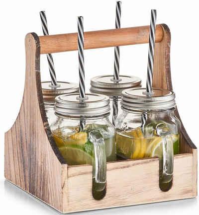 Zeller Present Gläser-Set, Glas, Metall, Holz, je 4 Gläser mit Schraubdeckel und Trinkhalmen, in praktischer Holzkiste zum Tragen