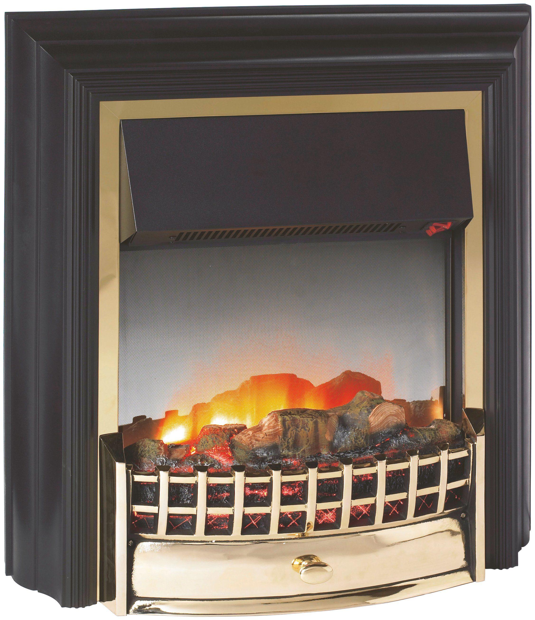 EWT Elektrisches Kaminfeuer »Cheriton«, schwarz, mit Messingzierleisten