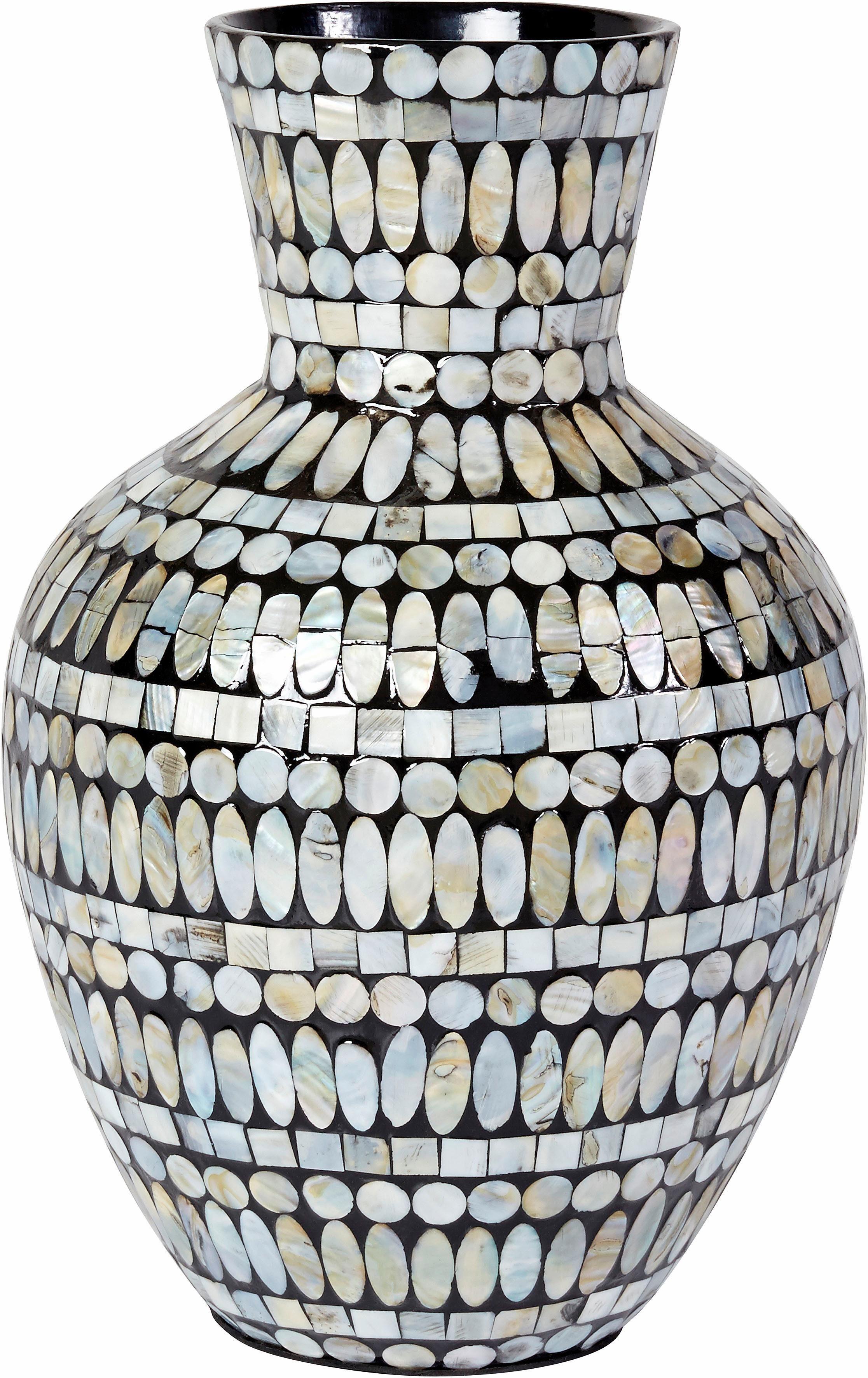 Home affaire Deko-Vase aus Bambus, mit Perlmutt belegt
