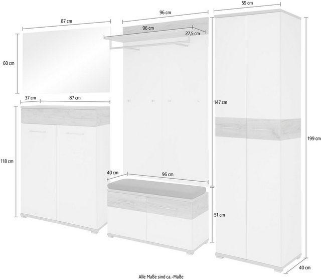 Garderoben Sets - GERMANIA Garderoben Set »GW Topix«, (Set, 6 St), Türen mit Soft Close Funktion  - Onlineshop OTTO