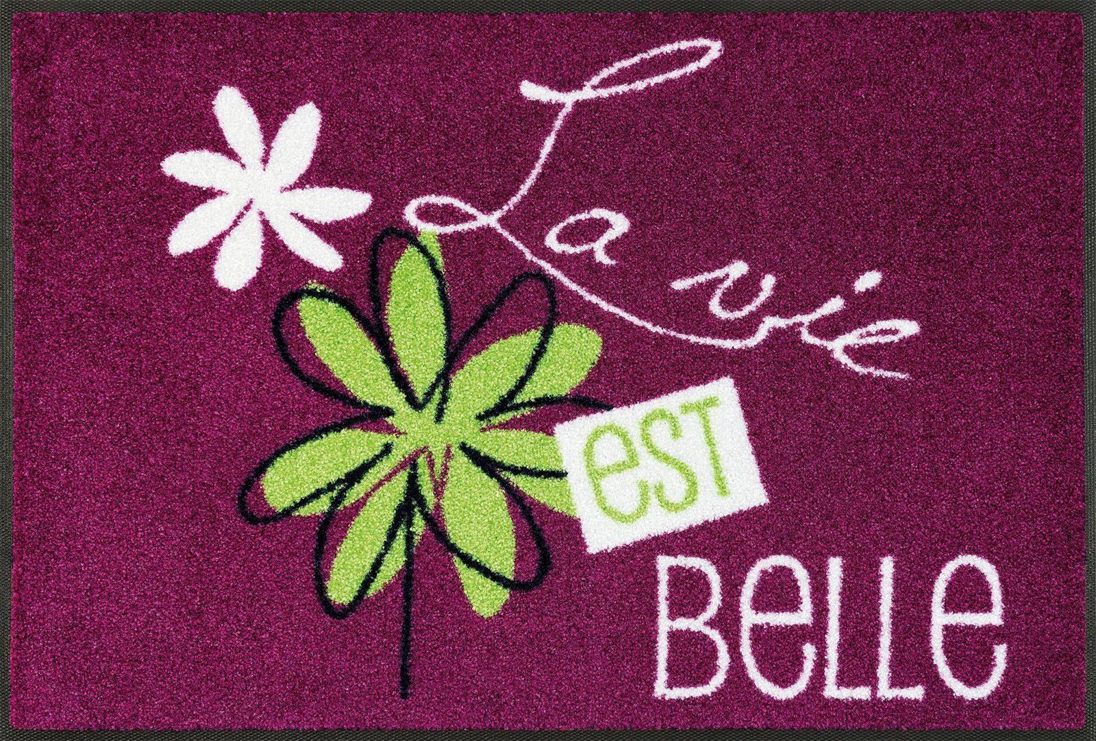 Fußmatte »La vie est belle«, wash+dry by Kleen-Tex, rechteckig, Höhe 7 mm